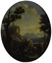 MARCO RICCI (Italian 1676-1729) Finding of Moses, 18th century Oil on oval board 11 x 12-1/2 inch