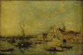 Fine Art - Painting, European:Antique  (Pre 1900), Manner of FRANCESCO GUARDI (Italian 1712-1793). View ofVenice, 19th Century. Oil on canvas. 10-1/4 x 15 inches (26.0 x...