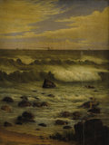 Fine Art - Painting, American:Antique  (Pre 1900), JOSEPH TUBBY (American 1821-1896). View of the Atlantic off theJersey Shore. Oil on canvas. 26 x 20 inches (66.0 x 50.8...