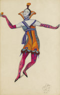 Fine Art - Painting, European:Modern  (1900 1949)  , SERGEY YUR'EVICH SUDYEKIN (Russian 1882-1946). Jester.Gouache and watercolor over pencil on paper. 18-1/2 x 12 inches(...