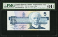 Canadian Currency: , BC-56aA $5 1986 ENX Replacement. ...