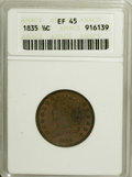 Half Cents: , 1835 1/2 C XF45 ANACS. NGC Census: (18/527). PCGS Population(31/546). Mintage: 398,000. Numismedia Wsl. Price for NGC/PCGS...