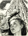 Illustration:Magazine, VIRGIL FINLAY (American 1914 - 1971) . My Destiny Is theStars, original science fiction magazine illustration . Ink on... (Total: 1 Item)