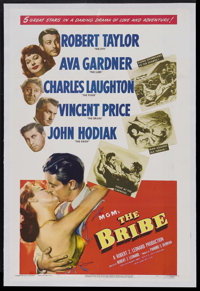 "The Bribe (MGM, 1949). One Sheet (27"" X 41""). Drama. Starring Robert Taylor, Ava Gardner, Charles Laughton, Vi..."