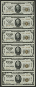National Bank Notes:Tennessee, Memphis, TN - $20 1929 Ty. 2 Union Planters NB & TC Ch. # 13349Uncut Sheet. This is a well preserved sheet that is nice...