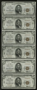 National Bank Notes:Maine, Portland, ME - $5 1929 Ty. 1 The Canal NB Ch. # 941 Uncut Sheet.This all serial number 1 sheet exhibits light handling ...
