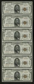 National Bank Notes:Tennessee, Johnson City, TN - $5 1929 Ty. 2 The Hamilton NB Ch. # 13635 UncutSheet. This is an attractive serial number 1-6 uncut ...