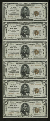 Johnson City, TN - $5 1929 Ty. 2 The Hamilton NB Ch. # 13635 Uncut Sheet This is an attractive serial number 1-6 uncut...