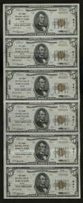 National Bank Notes:Maine, Portland, ME - $5 1929 Ty. 2 The Canal NB Ch. # 941 Uncut Sheet. This serial number 1-6 embossed uncut sheet shows foldi...