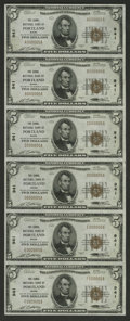National Bank Notes:Maine, Portland, ME - $5 1929 Ty. 1 The Canal NB Ch. # 941 Uncut Sheet. This uncut sheet is the all serial number 5 sheet for t...