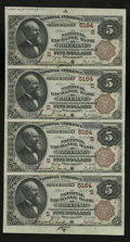 National Bank Notes:West Virginia, Wheeling, WV - $5-5-5-5 1882 Brown Back Fr. 477 The National Exchange Bank Ch. # (S)5164 Uncut Sheet. This is one of two...