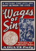 """Movie Posters:Drama, Wages of Sin (Real Life Dramas, 1938). One Sheet (27"""" X 41"""").Drama. Starring Constance Worth, Willy Castello, Blanche Mehaf..."""
