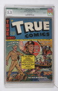 Golden Age (1938-1955):Non-Fiction, True Comics #17 (True, 1942) CGC Qualified FN- 5.5 Off-whitepages....