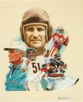 Illustration:Advertising, JIM AUCKLAND (American 20th Century) . Wheaties Box, 75th NFLAnniversary, 1995 . Mixed-media on board . 18 x 14-1/2in. ...(Total: 3 Items Item)