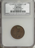 (1670-75) FARTH St. Patrick Farthing--Countermarked--NCS. Fine Details....(PCGS# 42)