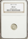 Three Cent Silver, 1851-O 3CS MS64 NGC....