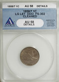 Flying Eagle Cents, 1858/7 1C --Cleaned--ANACS. AU58 Details....