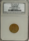 Lincoln Cents, 1922 No D 1C Weak Reverse--Improperly Cleaned--NCS. VF Details....