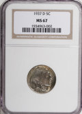 Buffalo Nickels, 1937-D 5C MS67 NGC....