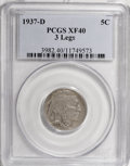 Buffalo Nickels, 1937-D 5C Three-Legged XF40 PCGS....