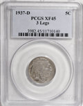 Buffalo Nickels, 1937-D 5C Three-Legged XF45 PCGS....