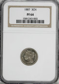 Proof Three Cent Nickels, 1887 3CN PR64 NGC....
