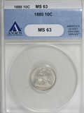 Seated Dimes, 1880 10C MS63 ANACS....