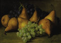 Fine Art - Painting, American:Antique  (Pre 1900), EDWARD CHALMERS LEAVITT (American 1842-1904). Still Life withGrapes and Yellow Pears, 1884. Oil on canvas. 10 x 14 inch...