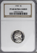Proof Jefferson Nickels, 1950 5C PR68 Ultra Cameo NGC....