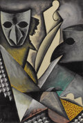 Fine Art - Painting, American:Modern  (1900 1949)  , BEN SHAHN (American 1898-1969). Composition with Masks,1928. Watercolor on paper. 20 x 14 inches (50.8 x 35.6 cm). Sign...