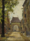 Fine Art - Painting, American:Modern  (1900 1949)  , ANTHONY THIEME (American 1888-1954). Gateway in a FrenchVillage. Oil on artist's board. 17 x 13 inches (43.2 x 33.0...