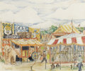 Fine Art - Painting, American:Modern  (1900 1949)  , REYNOLDS BEAL (American 1867-1951). Circus Scene. Crayon onpaper. 11-1/2 x 13-3/4 inches (29.2 x 34.9 cm). Signed in pe...