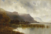 ALFRED DE BREANSKI (British 1852-1928) A Quiet Loch Oil on canvas 38-1/4 x 60-1/4 inches (97.2 x