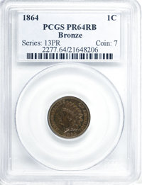 1864 1C Bronze No L PR64 Red and Brown PCGS....(PCGS# 2277)