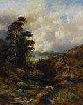 Fine Art - Painting, European:Modern  (1900 1949)  , WILLIAM MELLOR (British 1851-1931). A Rushing Gorge in the Highlands. Oil on original unlined canvas. 50 x 40 inches (12...