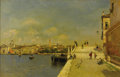 Fine Art - Painting, European:Antique  (Pre 1900), MARTÍN RICO Y ORTEGA (Spanish 1833-1908). Promenade on theCanal. Oil on canvas laid on panel. 18 x 28 inches (45.7 ...