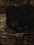Fine Art - Painting, European:Antique  (Pre 1900), JAMES JACQUES TISSOT (French 1836-1902). Renée Mauperin: Renéeand Reverchon Swimming in the Seine. Oil on paper laid do...