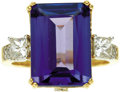 Estate Jewelry:Rings, Tanzanite, Diamond, Gold Ring. The ring features an emerald-cut tanzanite measuring 14.35 x 10.25 x 5.30 mm and weighing a... (Total: 1 Item)