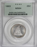 Seated Quarters, 1863 25C MS64 PCGS....