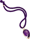 Estate Jewelry:Necklaces, Carved Amethyst Pendant-Necklace. The pendant features a carvedamethyst measuring 38.00 x 27.00 x 17.70 mm, depicting a l...(Total: 1 Item)