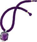 Estate Jewelry:Necklaces, Carved Amethyst, Diamond, Gold Pendant-Necklace. The pendantfeatures a carved amethyst, depicting a woman's head, enhance...(Total: 1 Item)