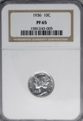 Proof Mercury Dimes, 1936 10C PR65 NGC....