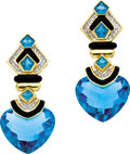 Estate Jewelry:Earrings, Blue Topaz, Diamond, Onyx, Gold Earrings. Each earring featuresheart, square and pentagon-shaped blue topaz, enhanced by ...(Total: 1 Item)