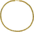 Estate Jewelry:Necklaces, Gold Necklace. The 14k yellow gold fancy link necklace measures 15inches, completed by a spring ring clasp. Gross weight ... (Total:1 Item)