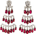 Estate Jewelry:Earrings, Ruby, Diamond, Gold Earrings. The chandelier earrings featurebriolette-cut rubies, suspended from full-cut diamonds, set ...(Total: 1 Item)