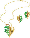 Estate Jewelry:Coin Jewelry and Suites, Emerald, Diamond, Gold Jewelry Suite. The suite, designed with aleaf motif, includes: one pendant-necklace featuring full...(Total: 1 Item)