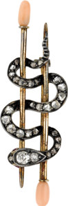 Estate Jewelry:Brooches - Pins, Victorian Diamond, Coral, Silver-Topped Gold Brooch. The brooch,designed as a snake, features mine and rose-cut diamonds ...(Total: 1 Item)