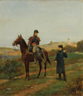 Fine Art - Painting, European:Antique  (Pre 1900), JEAN-JACQUES BERNE-BELLECOUR (French 1874). Officers Outside aTown. Oil on panel. 18 x 16 inches (45.7 x 40.6 cm). Sign...