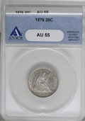 Twenty Cent Pieces, 1876 20C AU55 ANACS....