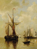Fine Art - Painting, European:Antique  (Pre 1900), PAUL JEAN CLAYS (Belgian 1817-1900). Fishing Boats in theHarbor. Oil on canvas. 26 x 19-3/4 inches (66.0 x 50.2 cm).Si...